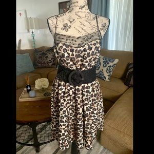 Leopard print spaghetti strap shift dress